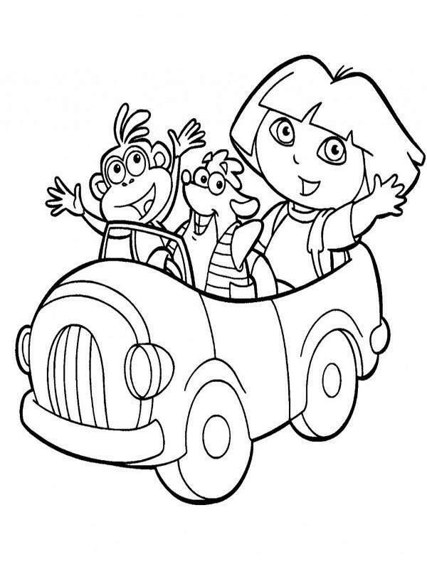 Pintando y coloreando dibujos animados de Dora la exploradora