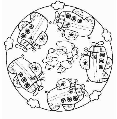 Pintando y coloreando mandalas con motivos para niños