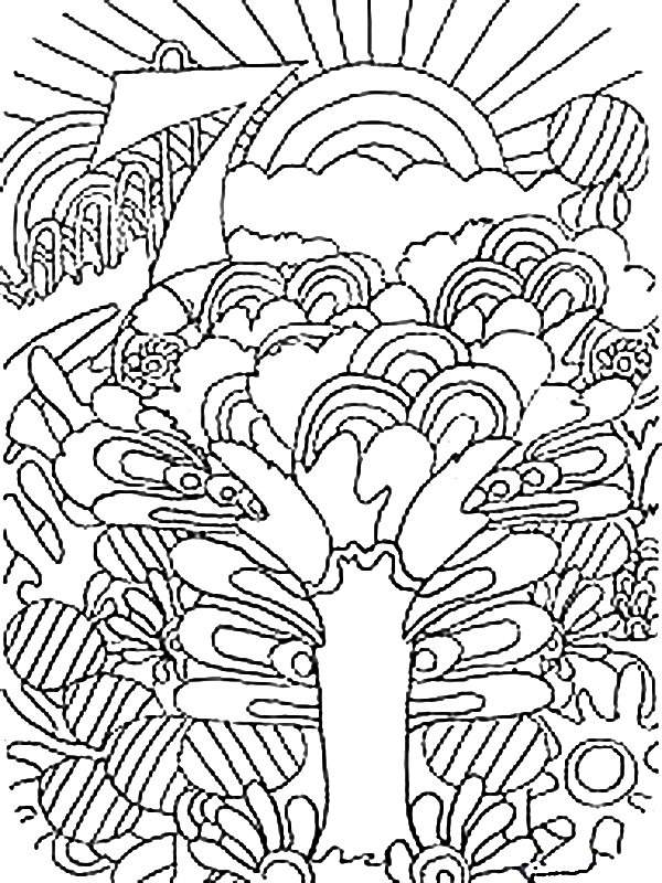 Pintando y coloreando dibujos de naturaleza