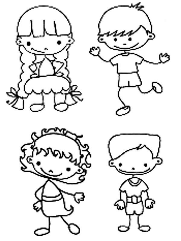 Dibujo De Dos Ninas Para Colorear Imagui