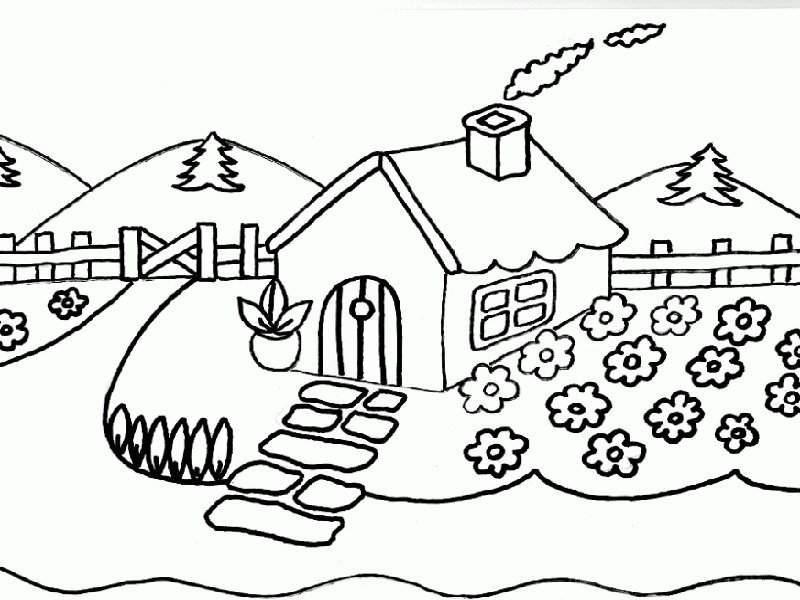 Para Colorear Paisajes Para Dibujar Lapiz Dibujos Rboles ...